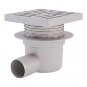 Трап ANI Plast TA5610 горизонтальный, регулируемый, выпуск 50 мм с пластиковой решеткой 15x15 см