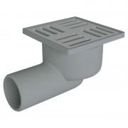 Трап ANI Plast TQ5102 сухой горизонтальный, выпуск 50 мм с нержавеющей решеткой 10x10 см